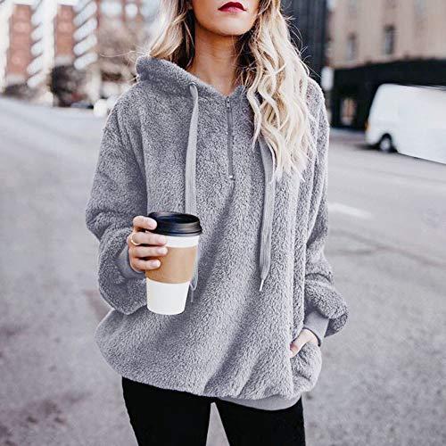 Lazzboy Womens Sweatshirt Hoodie Long Sleeve Warm-up Faux Fur Zipper Pocket Fleece Hooded Oversized Plus Size,S-5XL(L(12),Light Grey)