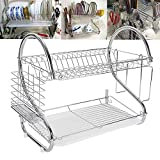 Dish Drying Rack,2 Tier Dish Rack Kitchen Organize with Drain Board Utensil Holder, Cutting Board Holder,Stainless Steel Generic Plate Dishes Drainer for Kitchen Counter Top, Plated Chrome Dish Dryer