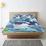 Zozun Funda nórdica, Juego de Funda nórdica de Tortuga tiburón delfín de Animales del océano, 2 Fundas de Almohada a Juego, Juego de Ropa de Cama