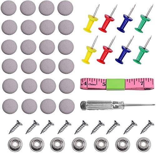 Queta 60 Piezas Botones para Reparar Hebillas de Techo de Coche, Fijación al Techo del Coche, para Remachado Automático el Techo, Coche, Fijación, Decoración de Interiores Automóvil (Gris)