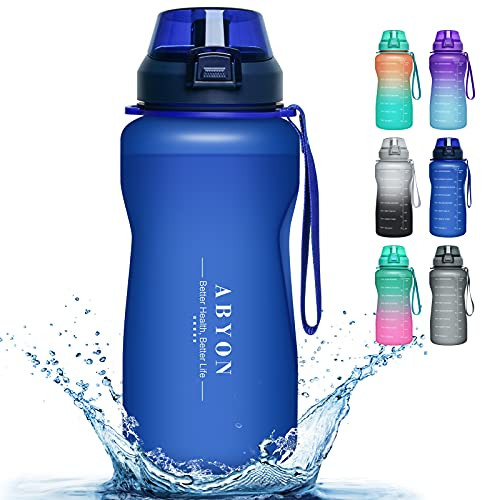 Large 1 Gallon Motivational Water Bottle with Paracord Handle & Removable Straw - BPA Free Leakproof Water Jug with Time Marker to Ensure You Drink Enough Water Throughout the Day (M5-Blue)