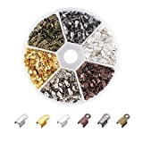 Pandahall 1380pcs/box 6 Color Iron Fold Over Crimp Cord Ends Terminators Clamp End Tips for 3mm Thick Leather...