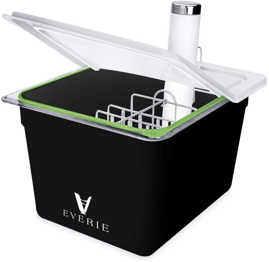EVERIE Sous Vide Container with Collapsible Hinge Lid and Sous Vide Rack and Sleeve Compatible with Breville Joule (KIT-12-CS-PP)