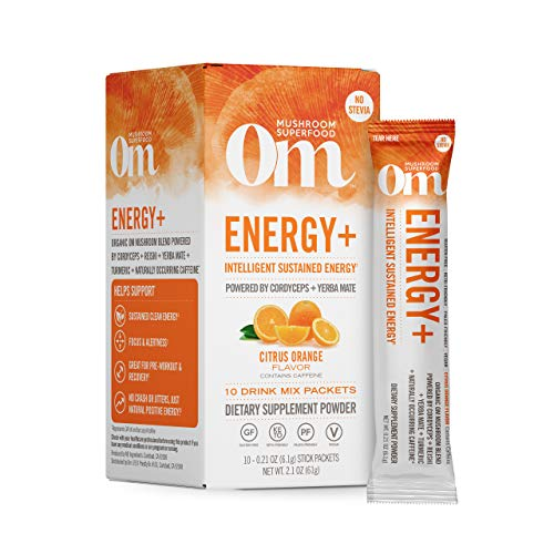 Om Organic Mushroom Nutrition Superfood Drink Mix, Energy Plus, Citrus Orange, 2.1 Ounce (10 Packets), Cordyceps & Yerba Mate, Immune Support Supplement