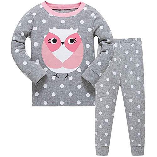Garsumiss Schlafanzug für Kleinkinder, Mädchen, niedliches Meerjungfrauen-Design, Baumwolle, Schlafanzug, Tops, Hemden und Hosen, Nachtwäsche, Kinder Outfit 2–7 Jahre Gr. 5 Jahre, Pink/Eule