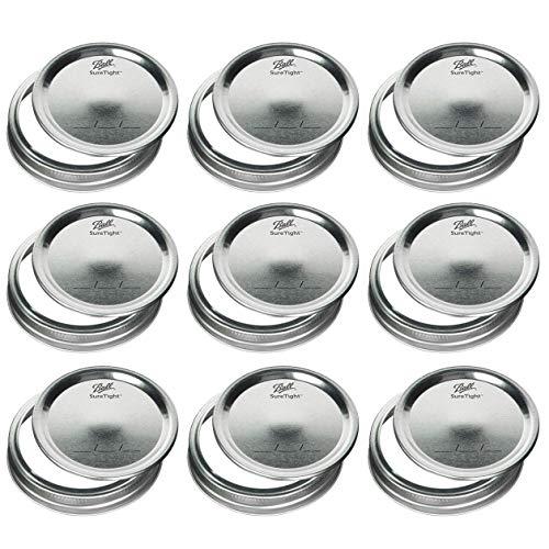 Mason Jar Large Bouche couvercles et bandes/Lot de 12
