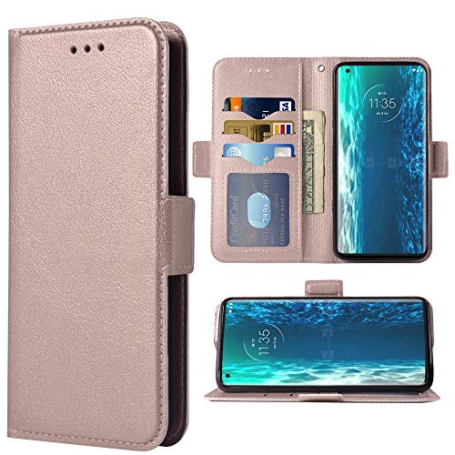 Compatible with Moto Edge 5G Flip Wallet Case,Wrist Strap Lanyard PU Leather Card Holder Slots Heavy Duty Full Body Protection Kickstand Folio Purse Credit ID Phone Cover for Moto Edge5G Rose Gold