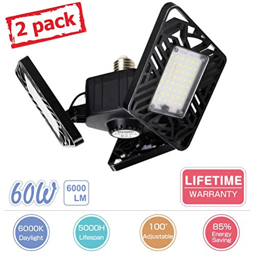 LED Garage Lights, Axcelight 60W 6000LM Deformable Garage Light,E26 Garage Ceiling Lights with 3 Adjustable LED Panels,Super Bright Garage Light Perfect for Garage, Warehouse, Workshop,Office(2 Pack)