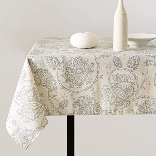 """jinchan Linen Textured Tablecloth for Kitchen Medallion Design Rustic Jacobean Floral Printed Table Cover 1 Panel 51"""" W x 72"""" L Grey on Beige"""