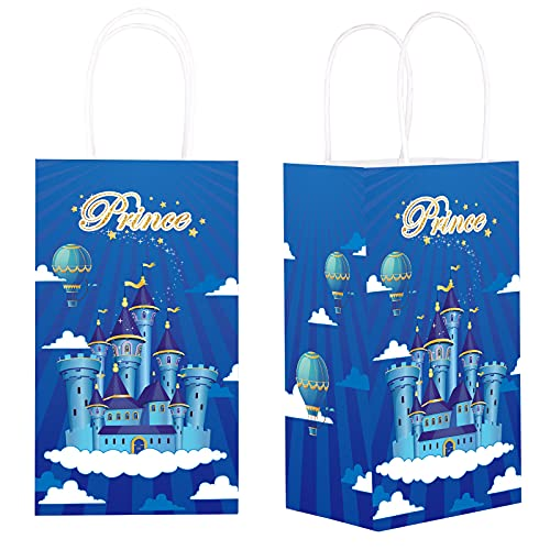 12 Pieces Prince Party Gift Treat Bag, Blue Prince CastleCandy Goodie Favor Bags with Handle for Prince Theme Birthday Baby Shower Party Favors Supplies