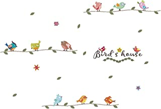 Amaonm Creative Removable Birds Wall Decals DIY Tree Branches Wall Stickers Murals Saying Bird's House Peel Stick Art Decor for Nursery Girls Bedroom Kids Room Bathroom Living Room Decoration