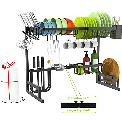 Over The Sink Dish Drying Rack - MERRYBOX 2-Tier Dish Drying Rack Over Sink Adjustable Length(25.6-33.5in), Stainless Steel Dish Rack Drainer, Dishes Rack for Kitchen Organization Space Saver