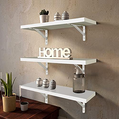 Juego de 3 estantes flotantes de pared montados en la pared, estantes flotantes de madera para colgar en la pared, estantes de almacenamiento con soportes de montaje, color blanco