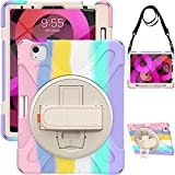 ABOUTTHEFIT iPad Air 4th Generation Case w/Pencil Holder 2020 | iPad Air 4 Case 10.9' Shockproof Heavy Duty | Colorful Cute w/Stand Strap for Kids Girls, Rainbow Pink (Model Number: EP-BUDT-AM5S)