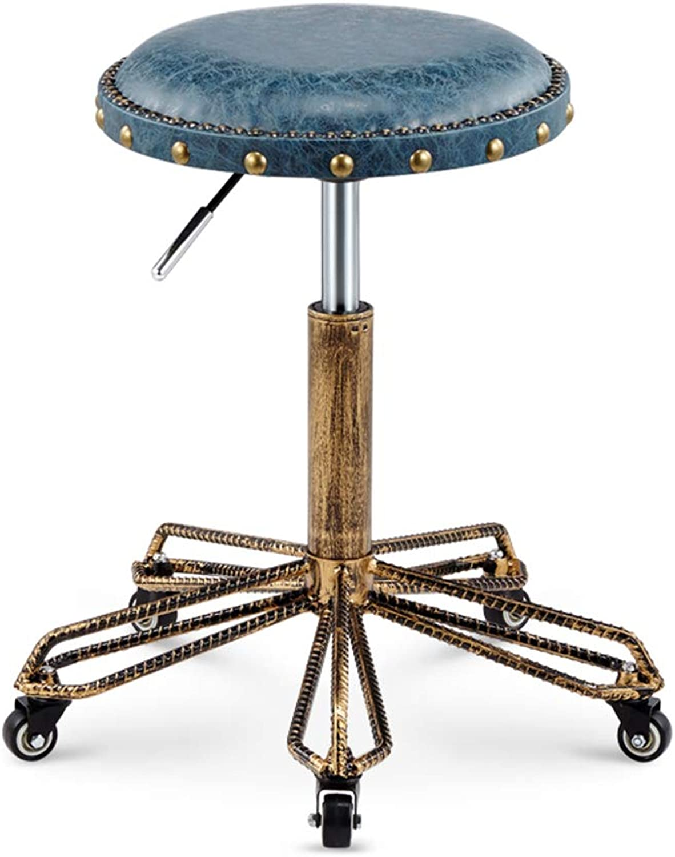 Ghjkl Bar Stool - Lift bar Chair Beauty Salon Chair redary Household high Stool Retro Pulley Reinforced bar Stool (4 colors Available) -by TIANTA (color   bluee)