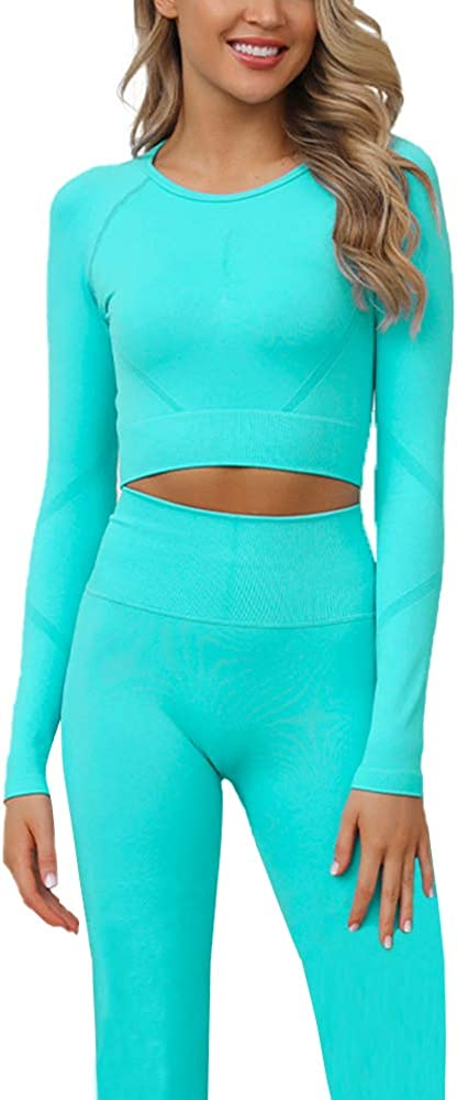 Long Sleeve Crop Top 2 Piece Yoga Workout Set for Women Workout Athletic Outfits
