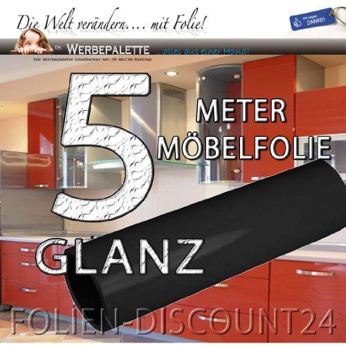 (EUR 4,90 / vierkante meter) keukenfolie meubelfolie Black Gloss hoogglans 3114 zwart glans PRIJS TIP! (5 meter x 1,22 meter).