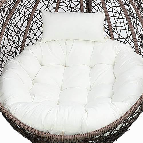 Hängande gungstolskudde, endast äggstolskudde, utomhus hängstol kudde med kudde, tjocka tvättbara papasanstolskuddar, rottingstol kudde utbyte vit