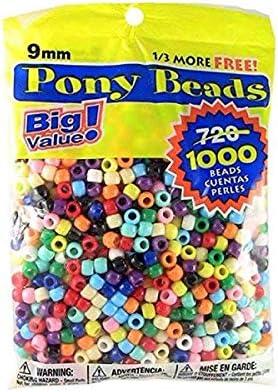 Darice Big Value Plastic, 9mm, 1000 piece Opaque Color, Pony Beads, Multicolor
