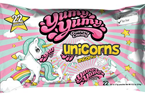 Yumy Yumy Unicorns Gummy 3 x 22 ct Party Pack, Halal, Gift Bag