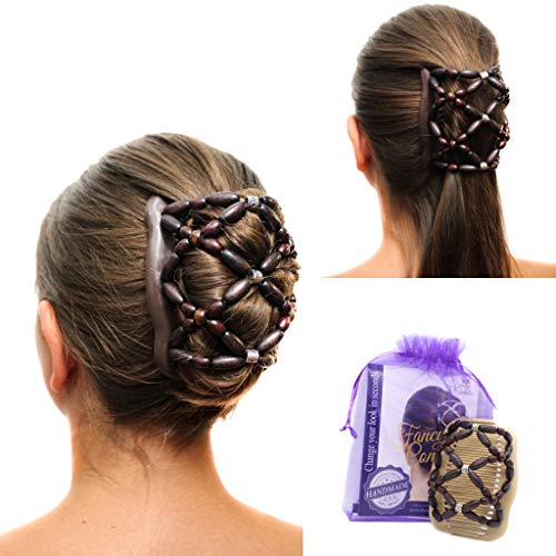 Fancy Combs USA MADE Thick Hair Clip Combs Hair accessories for Women and Girls – Natural Wooden Beaded Double Hair Comb Clip – Instant Bun Maker, Easy Updo, French Twist Comb, Secure Hold All day