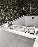 Vencier White Bamboo Bathtub Storage Rack Caddy Shelf Tidy Tray Holder