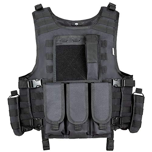 MGFLASHFORCE Tactical Airsoft Vest Adjustable Modular Paintball Vest (Black)