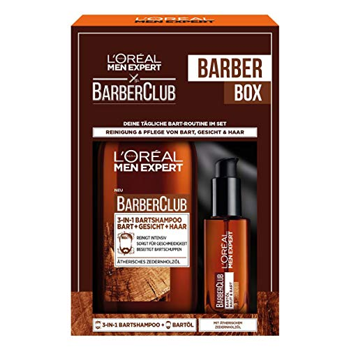 L\'Oréal Men Expert Bartpflege Set mit Bartöl und Bartshampoo, Barber Club Herren Bartpflege Geschenkset, 1 x 433 g