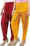 Buy That Trendz Women's Viscose Lycra Dhoti Patiyala Salwar Harem Bottoms Pants Mango Yellow Maroon Combo Pack of 2
