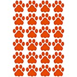LiteMark Durable 3 Inch Dog Paw Print Decals | Great for Floors, Ceilings, Walls, Laptops, and Most Smooth Surfaces | Gloss Finish Orange (Pack of 24 Paw Prints)