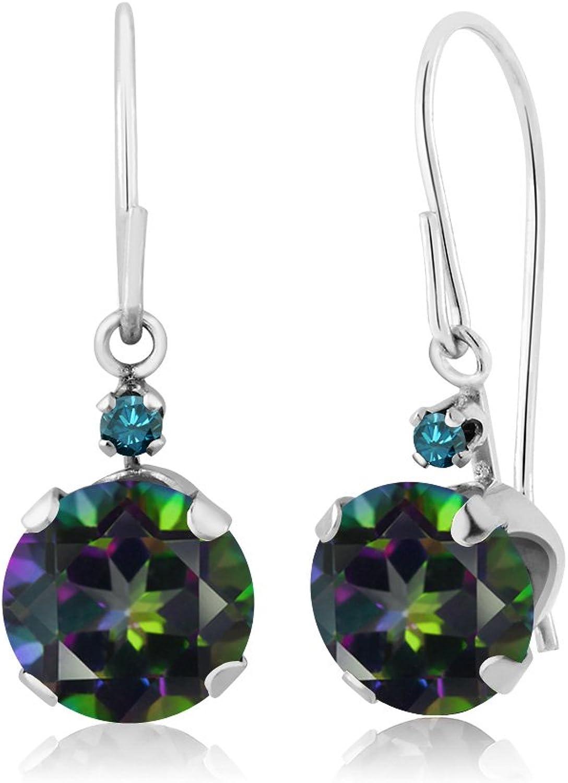 2.03 Ct Round Green Mystic Topaz bluee Diamond 14K White gold Earrings