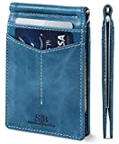 SERMAN BRANDS RFID Blocking Wallet Slim Bifold - Genuine Leather Minimalist Front Pocket Wallets for Men with Money Clip (Arctic Blue Rogue)