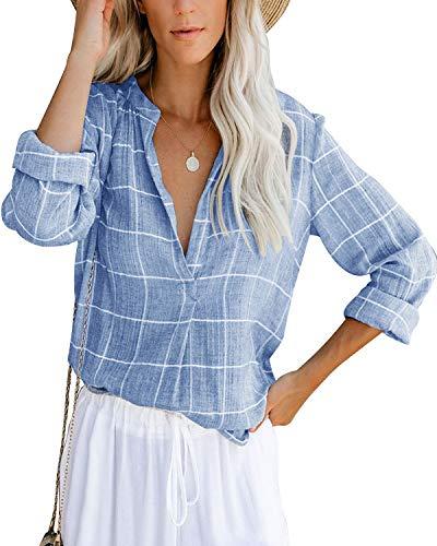 Damen Bluse Langarm Elegant Oberteil V-Ausschnitt Casual Tops Lose Langarmshirt Vintage Tunika Shirts(bl,XL)