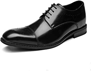 QinMei Zhou Business Oxfords for Men Brogue Carving Shoes Lace up Genuine Leather Square Toe 3cm Invisible Height Increase Three Joints Anti-Skid (Color : Black, Size : 8 UK)