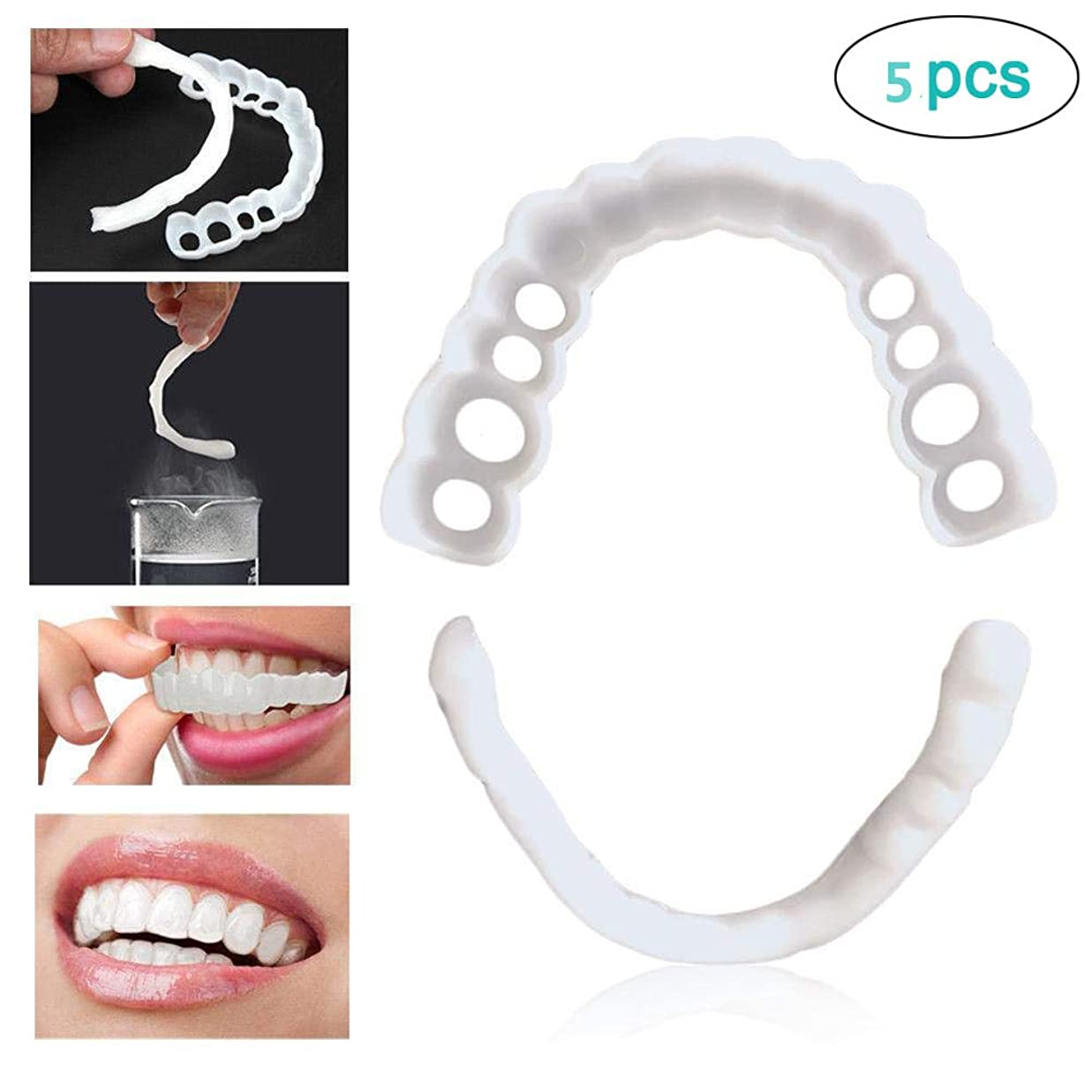 冊子メロディー愛するインスタント快適で柔らかい完璧なベニヤの歯スナップキャップを白くする一時的な化粧品歯義歯歯の化粧品シミュレーション上袖/下括弧の5枚,lowerteeth5pcs