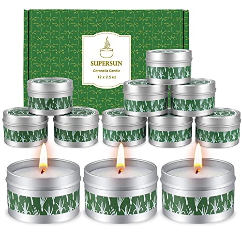 12 Stück Citronella Kerze Outdoor Kerzen Draußen, 15Std*12 Zitronell Kerze Sojawachs Citronella Kerzen für Garten, Terrasse