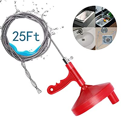 Drain Snake 25ft, Auger Clog Remover Plumbing Unblocker Cleaner, for Sewer,Bathtub Shower Drain and Kitchen Sink