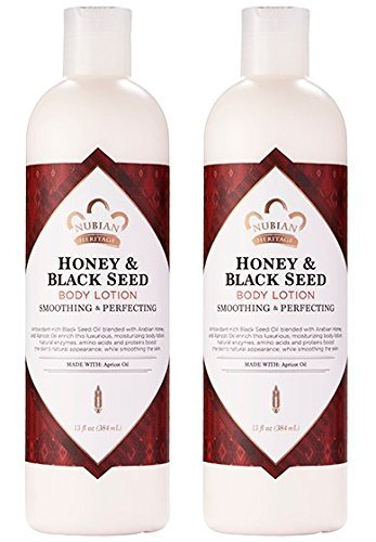 Nubian Heritage Honey & Black Seed Body Lotion (Pack of 2) with Shea Butter, Cocoa Seed Butter, Olive Oil, Aloe Vera Juice, Black Seed Oil, Honeysuckle Extract and Apricot Kernel Oil, 13 oz