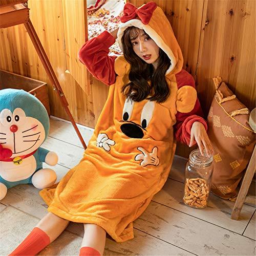 DUJUN Damen-Nachthemd mit Kapuze, Flanellfarbener Dicker Bademantel, Langärmliger, Warmer Schlafanzug für den Herbst und Winter,A1 M