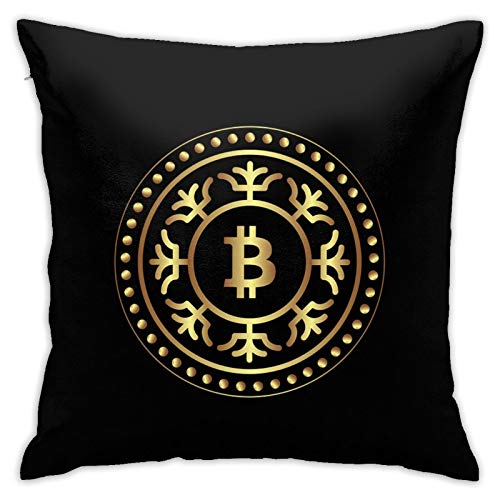ZVEZVI Funda de Almohada Decorativa con Moneda Dorada de Bitcoin Funda de Almohada Cuadrada para Oficina hogar 18 * 18 Pulgadas / 45 * 45cm