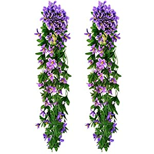Pura Aide Artificial Lily Flower Garlands Fake Plant Foliage Hanging Vines for Home Bedroom Kitchen Garden Office Wedding Wall Decor