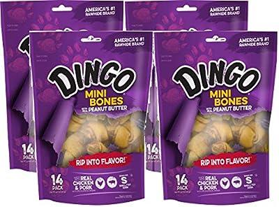 Dingo 4 Pack of Peanut Butter Mini Bones, 14 Bones Per Pack