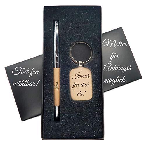 JaRo Geschenkbox mit Schlüsselanhänger und Stift mit personalisierter Gravur mit Namen und Datum, Unisex Accessoire Geschenkidee Geschenk Glücksbringer Weihnachten Geburtstag