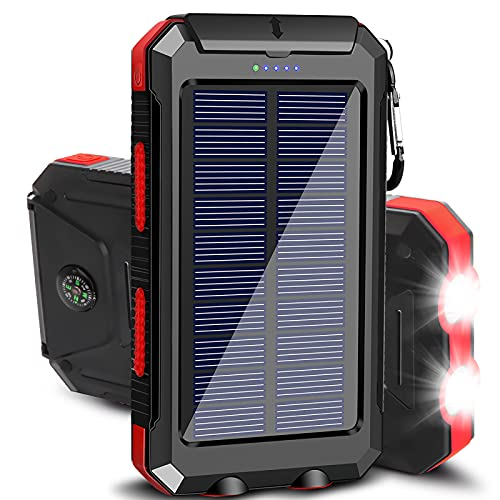 Solar Charger 20000mAh Portable Outdoor Waterproof Solar Power Bank, Camping External Backup Battery Pack Dual 5V USB Ports Output, 2 Led Light Flashlight with Compass (Red)