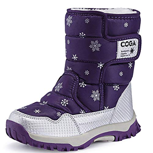 JACKSHIBO Girls Boys Outdoor Waterproof Winter Snow Boots(Toddler/Little Kid/Big Kid) Purple10 Toddler