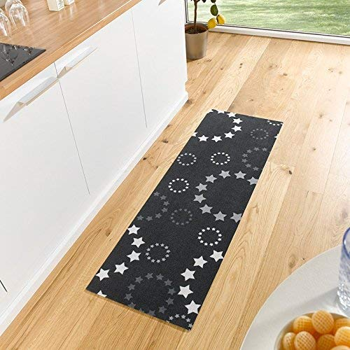 Waschbarer Küchenläufer Stars Schwarz 50x150 cm