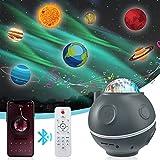 BiGosh Proyector Estrellas, 3 en 1 Galaxy Aurora Planets Proyector Estelar Luz Nocturna con 14 Modos Nebulosa Lámpara Luces con Control Remoto/Táctil Música Bluetooth Regalo para Niños Adultos