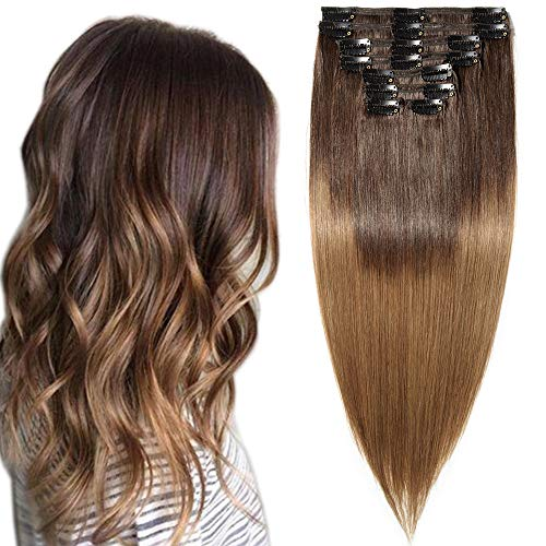 Clip in Extensions Echthaar Ombre Remy Haarverlängerung für komplette Haare 8 Tressen Doppelt Dicke 45cm-140g(#2T6 Dunkelbraun/Mittelbraun)