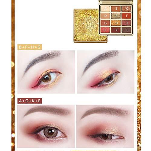 ChallengE Maquillage ombre à paupières palette de fard à paupières cosmétique fard à paupières 12 couleurs,Matte Glitter Multi-Reflective Shades Teint Ultra Pigmenté