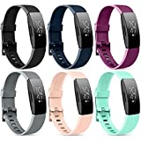 [6 Pack] Silicone Bands Compatible with Fitbit Inspire HR Fitbit Inspire Fitbit Ace 2, Replacement Fitbit Inspire HR Heart Rate and Fitness Tracker Sport Wristbands for Women Men, Large